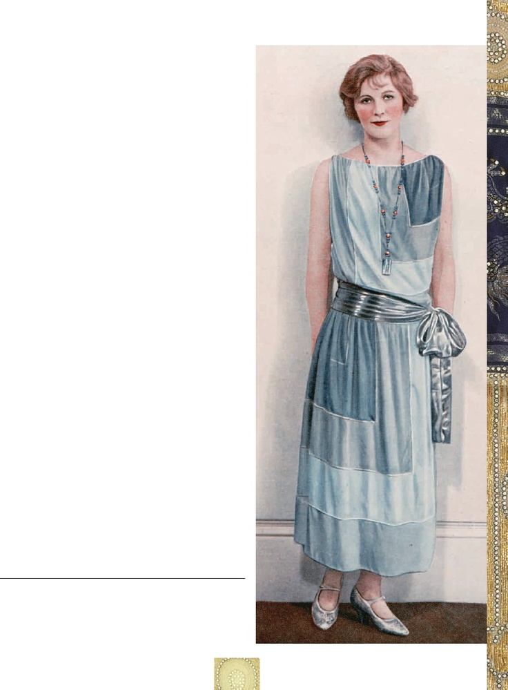 MORE SENSIBLE SOCIETY    In a toned-down form and at a more modest calf length,the drop-waisted look was fashionable everywhere. Thelow waist was often accentuated with a sash tied around thehips, a belt, or pockets sewn on at that level.