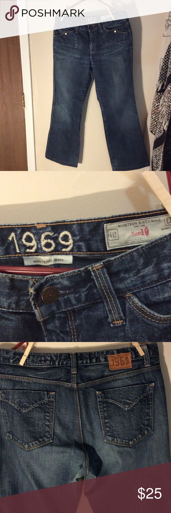 Nice wide leg Gap 1969 Western Jean authentic👖💕 Nice boot cut 1969 gap western Jean Fun detail on pocket with snap button closure as shown in picture Stressed weathered look Inseam 26 1/2 inches waist  16 1/2 inches across laying  down 100% cotton Good used condition gap western jean Jeans Boot Cut