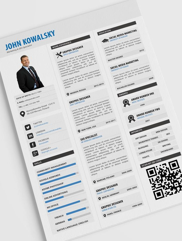 65 best Creative resume templates images on Pinterest Creative - psd resume templates