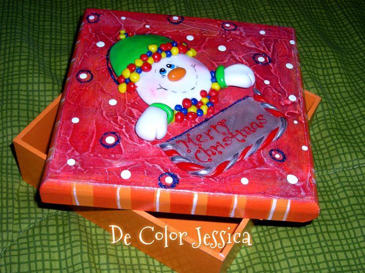 cajita navidad- muñeco de nieve