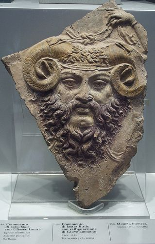 Ancient Roman from 1 Century CE of Jupiter Ammon with ram horns