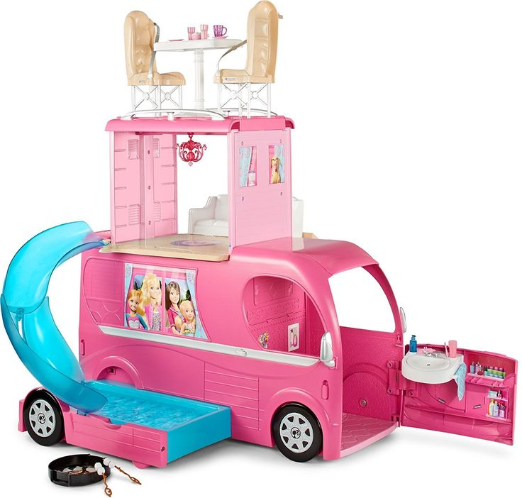 Barbie Pop-Up Camper Vehicle is one of the best Barbie toys. The Barbie camper van or  Barbie RV is a fabulous playset for girls.