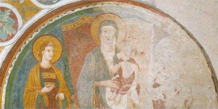 https://upload.wikimedia.org/wikipedia/commons/5/5c/Memmo_di_Filippuccio._Madonna_with_Child_and_Two_Saints._Fresco._1305._Collegiata%2C_San_Gimignano..jpg Мадонна с младенцем и двумя святыми. 1305. Фреска. Кафедральный собор Колледжата, Сан Джиминьяно.