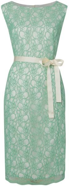 Linea Blue Angela Lace Dress. Just add a cute creme cardigan.
