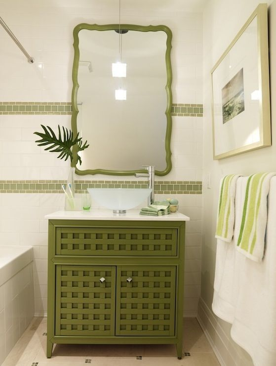 Lovely green cottage bathroom design with green cabinet bathroom vanity with green scalloped .