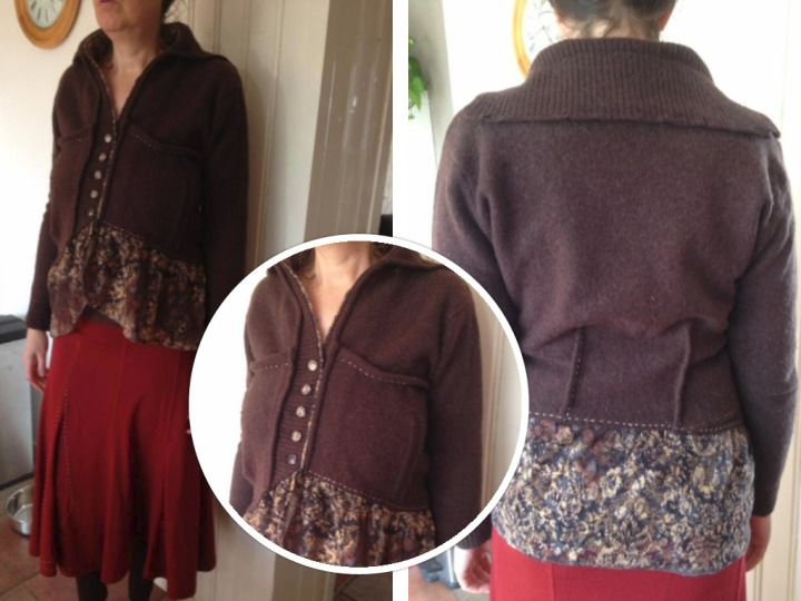 refashion a brown pullover with lace by Wonieka