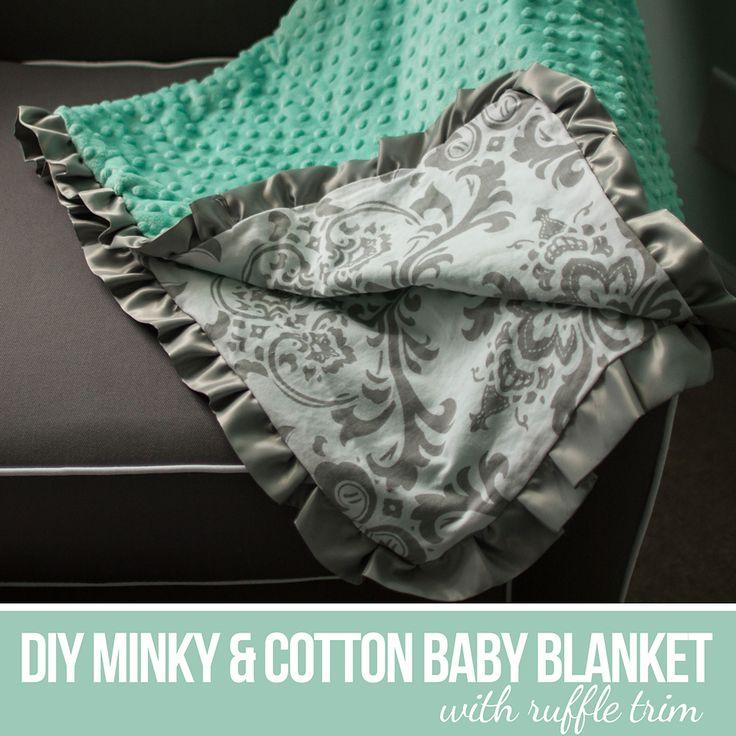 DIY Minky  and Cotton Baby Blanket with Ruffle Trim. www.creative.katedanielle.com
