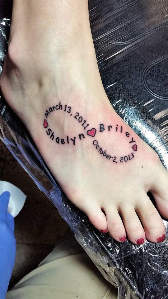 #infinity #kids #names #birthdates #foot #tattoo #studio13tattoomg