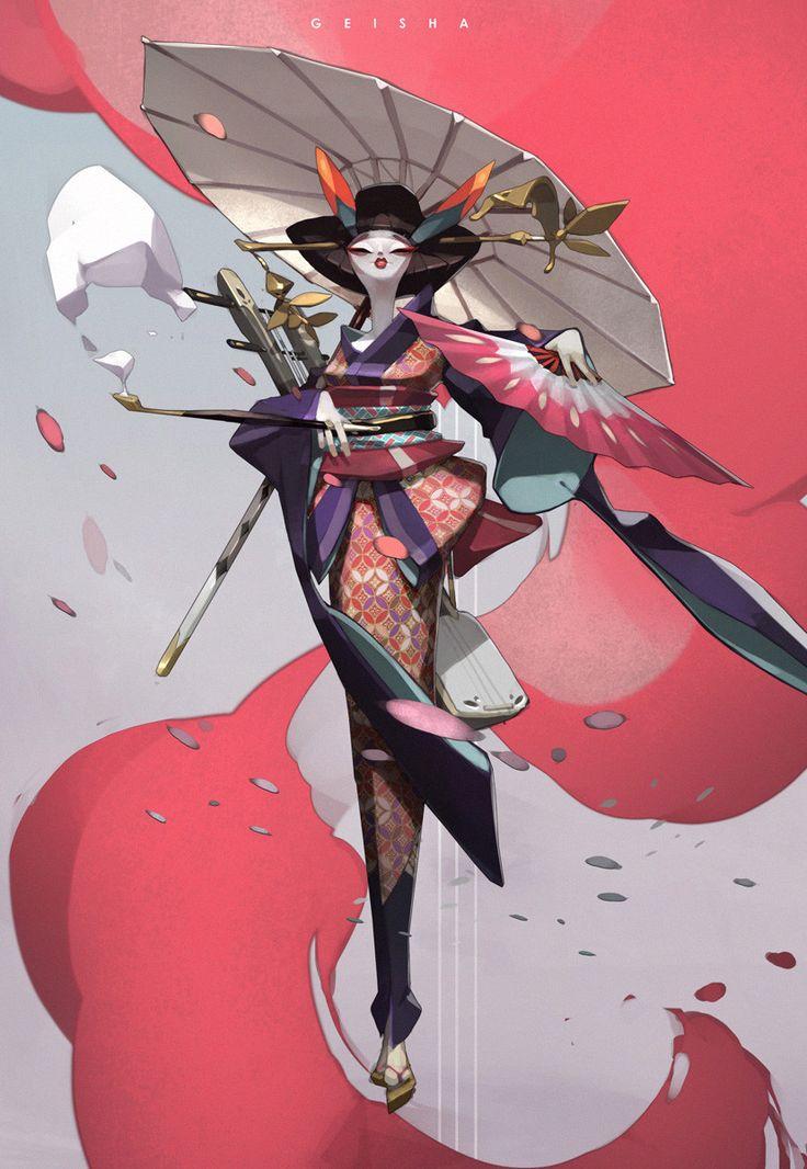Geisha, Tan Zhi Hui on ArtStation at https://www.artstation.com/artwork/Lrv5w