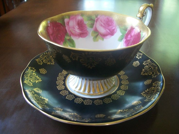 Vintage Collectible Royal Albert Tea Cup and Saucer Black w Gold Trim Numbered | eBay