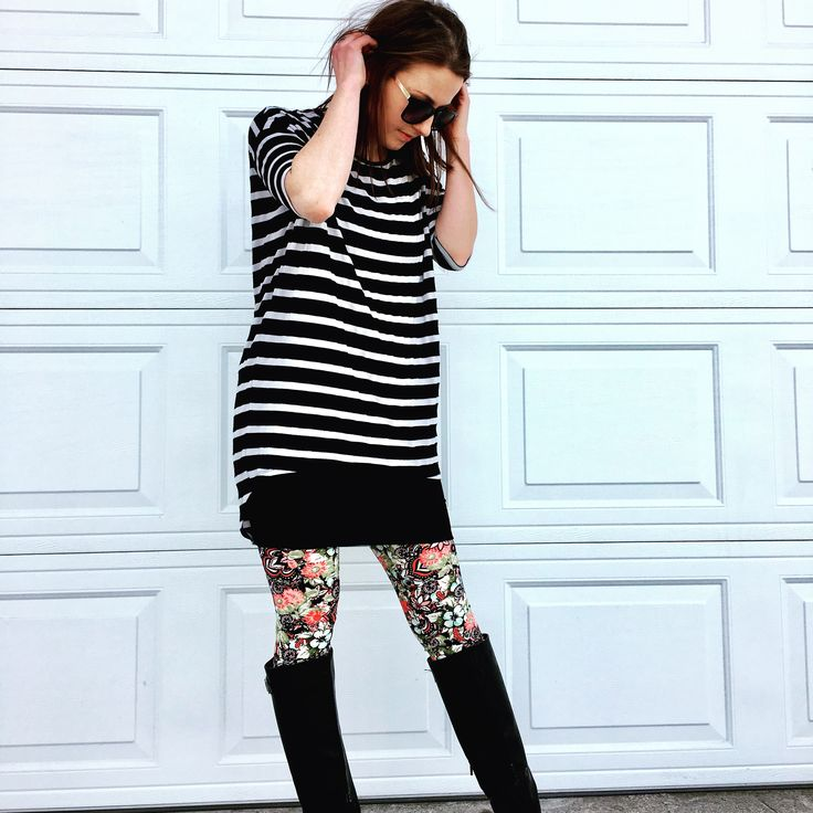 LuLaRoe Cassie paired with a LuLaRoe Irma and leggings - not my favorite look due to the excess pattern, but otherwise a cute way to pair the leggings and skirts w/ boots & top