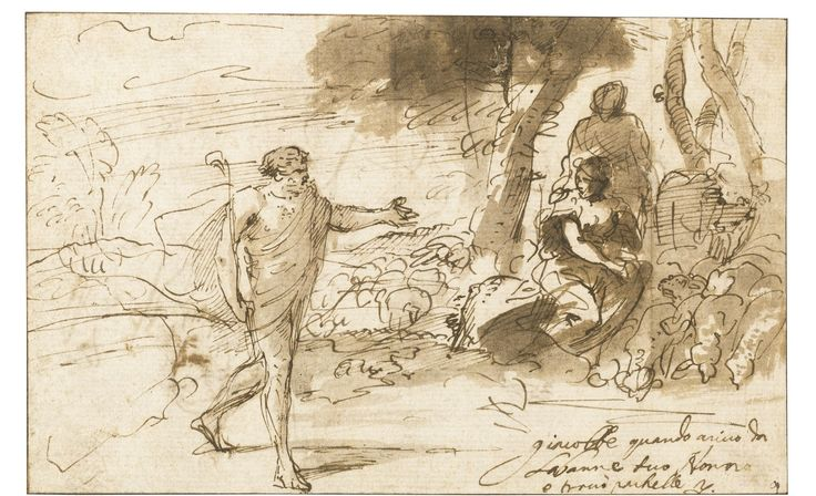 PIER FRANCESCO MOLA, COLDRERIO 1612 - 1666 ROME. THE MEETING OF JACOB AND RACHEL, Pen and brown ink and wash, 120 x 190 mm.