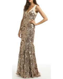 Sequin Floral Gown