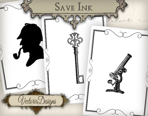 Sherlock Holmes ATC eco vintage images by VectoriaDesigns on Etsy, $3.15