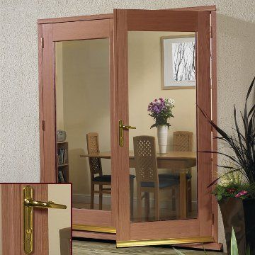 Image of La Porte Hardwood French Door Pair & Frame Set with Brass Fittings