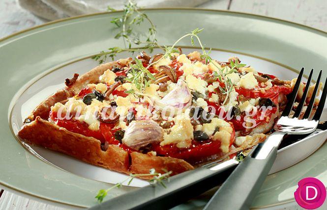 Ντοματόπιτα ανοιχτή με ελιές   Dina Nikolaou