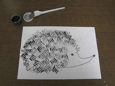 Using forks for printing. Would make such a cute project for Kdg. /1st. I could see them making some very funny porcupines! Fork stamp would be good for hay stacks or a dog. Can use fork for upper grades and manipulate so just 2 prongs were printed and etc.