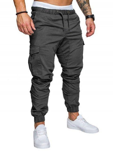 Pockets Design Elastic Cuffed Casual Jogger Pants - DARK GRAY M ... e3b9c8bb3