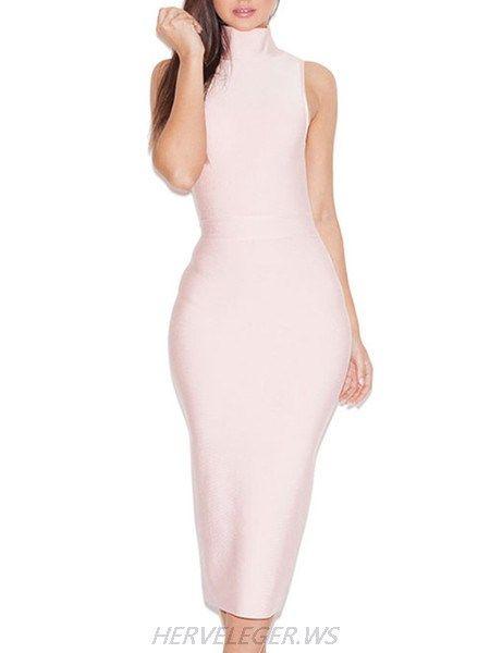 Herve Leger Baby Pink Turtleneck Dress