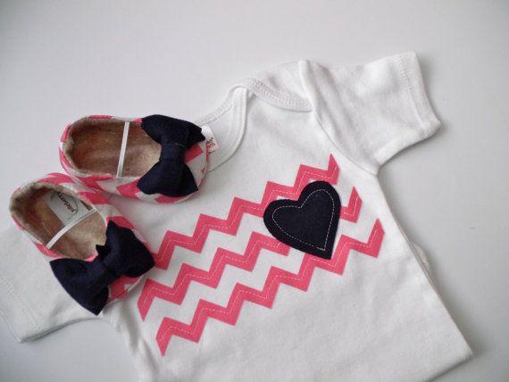 Chevron Pink/Blue Girl Shoe/Onesie Combo  Chevron by HarperDaisy, $36.95