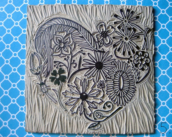 linocut hearts and fleurs