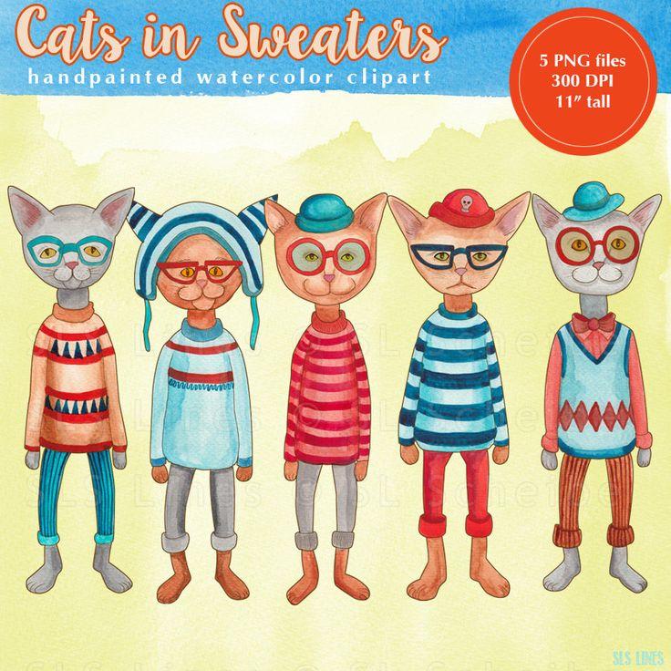 Katze Aquarell Clipart clip Katzen Pullover tragen von SLSLines