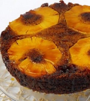 CARLA HALL Banana Upside Down Cake with Pineapple Rum Caramel