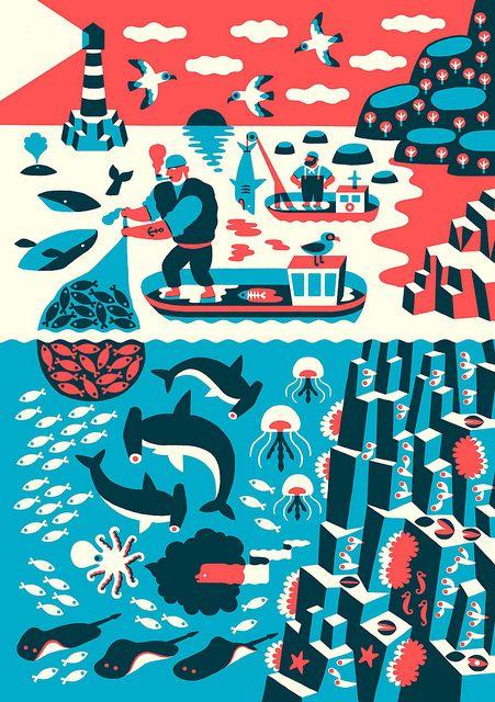 2 colour design. Simplistic shapes (Landscape with fishermen by Till Hafenbrak, via Flickr)