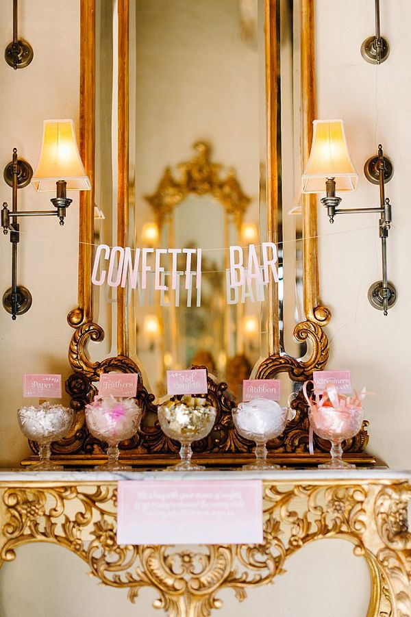 confetti bar! photo by Debbie Lourens Photography http://ruffledblog.com/smitten-with-sparkle-wedding-inspiration #weddingideas