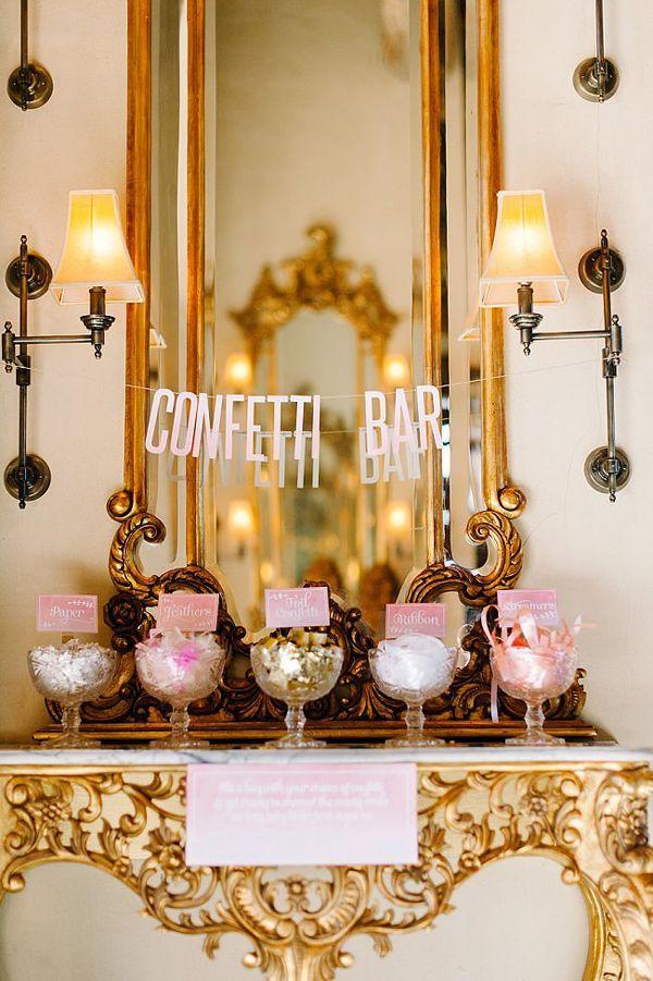 confetti bar! photo by Debbie Lourens Photography http://ruffledblog.com/smitten-with-sparkle-wedding-inspiration #weddingideas