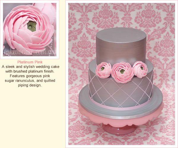 Platinum Pink Wedding cake with sugar Ranunculus
