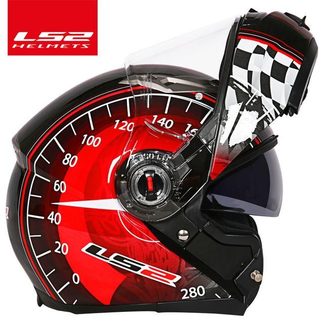 e0a91162eab LS2 FF370 Motorcycle helmet casco racing flip up Full Face Racing Moto  Helmet dual lens visor Can change anti-fog lenses