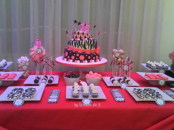 15 a os candy bar party fucsia y cebra dessert table ii - Decoracion en cebra ...
