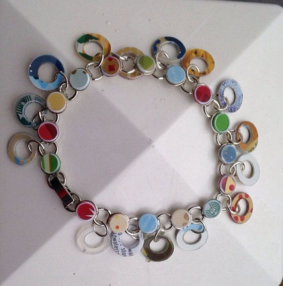 "Recycled Starbucks Gift Card 8"" Bracelet - Coffee Lover Bracelet made from recycled Plastic Giftcard, 8"" Circle Charm Bracelet on Etsy, $15.00"