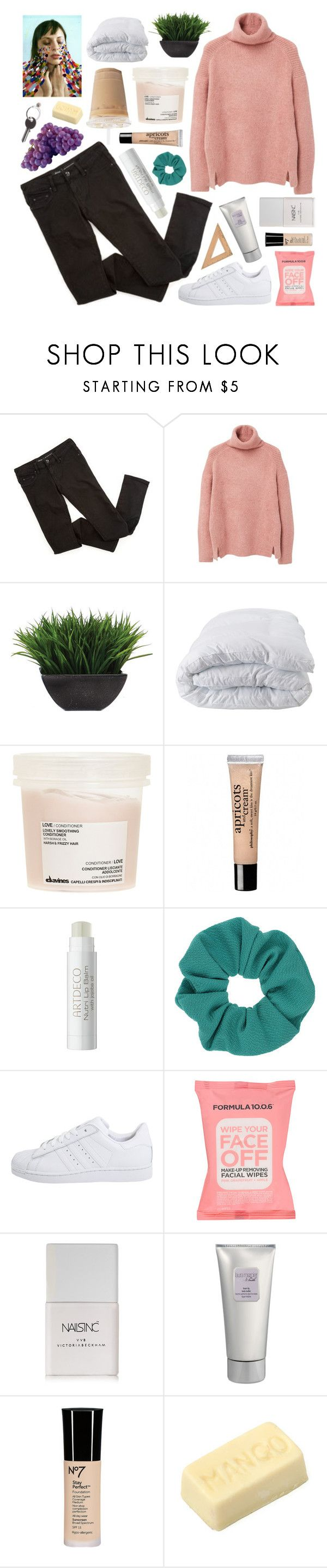 """""""i would do anything for you"""" by deep-breaths ❤ liked on Polyvore featuring MANGO, Lux-Art Silks, Soft-Tex, Davines, philosophy, Topshop, adidas Originals, Formula 10.0.6, Nails Inc. and Laura Mercier"""