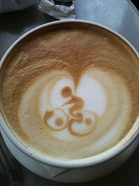 Okay, so I'm on a coffee kick. Did you see my latte post a few days ago with the Cat and the Fish? Well this one made me smile since as you know, it's all about cycling for me these days!