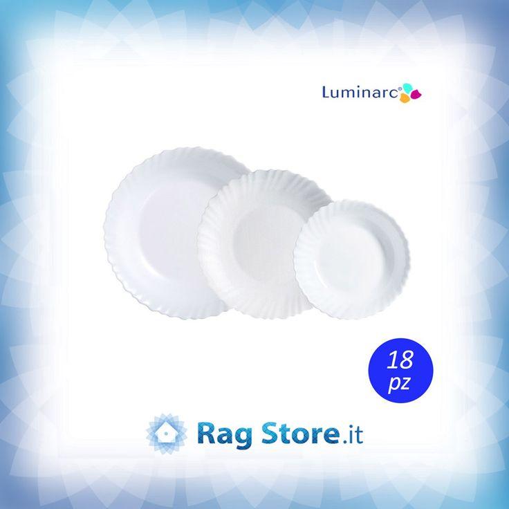 Servizio da 18 piatti da tavolo in arcopal bianco modello #Feston #Luminarc. Scopri gli altri modelli su #RagStore