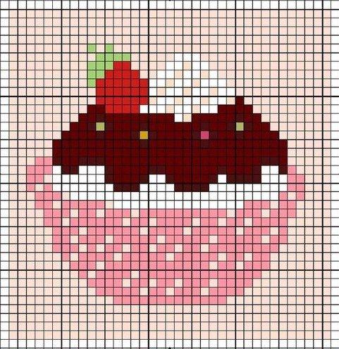 Free Cupcake hama perler bead pattern or cross stitch chart