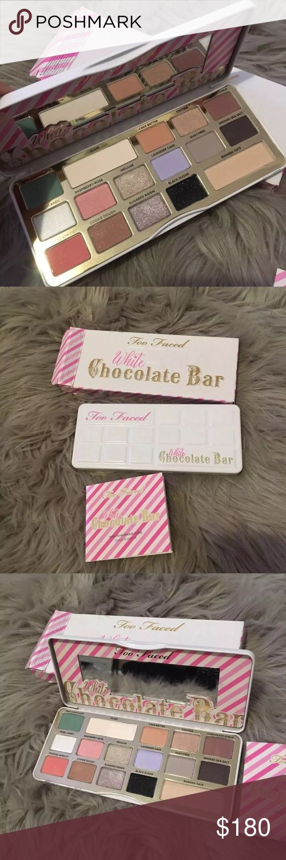 Too faced white chocolate bar palette Unreleased. New with box 100% authentic! This palette smells amazing! Price is high for a reason. Don't be annoying pls, thnx.  Too Faced Makeup Eyeshadow