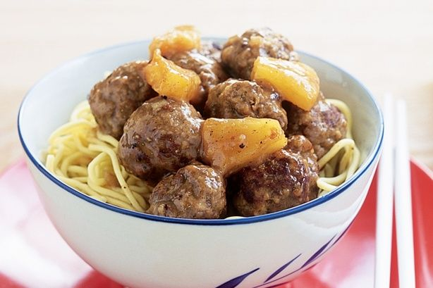 Sweet and sour meatballs _ Combine the family-favourite flavour of ...