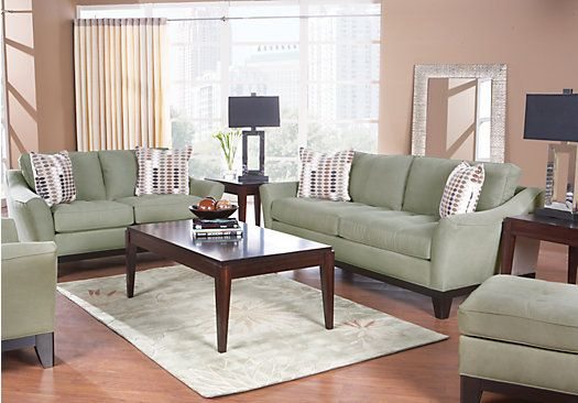 Shop for a cindy crawford home newport cove olive 7 pc living room at rooms to go find living for Rooms to go cindy crawford living room