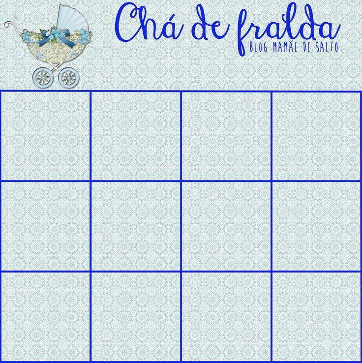 """Cartela para """"baby bingo"""" menino para brincadeira de chá de fralda e/ou chá de bebê! www.mamaedesalto.com"""