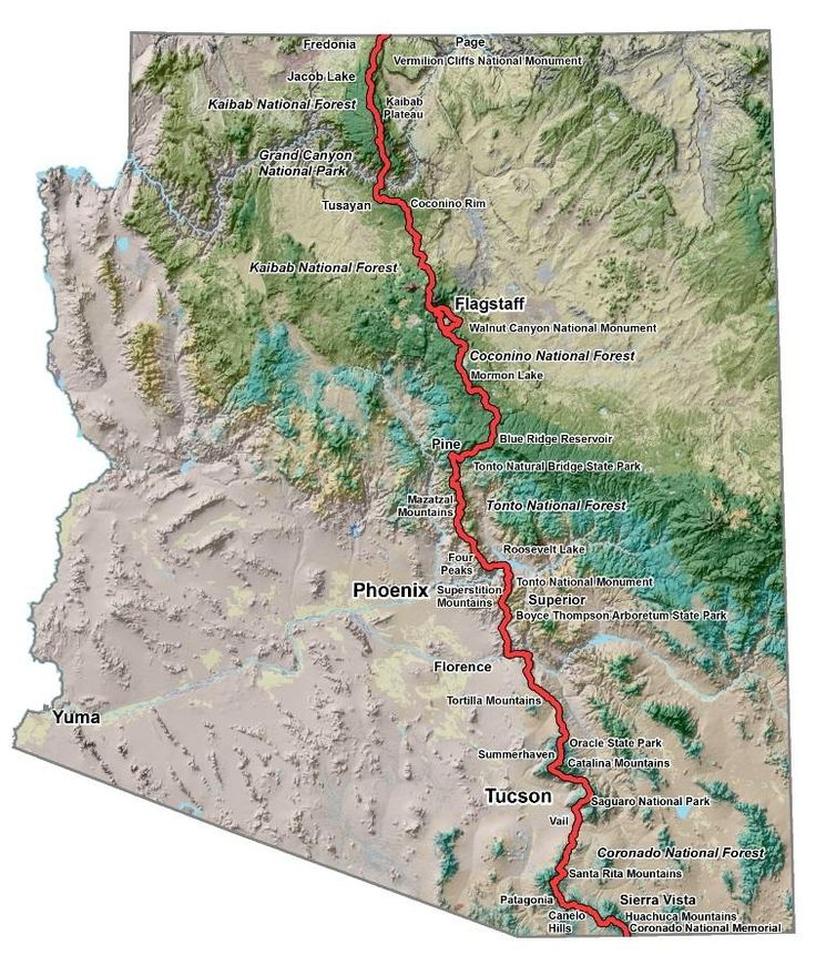 Map Of United States Showing Arizona%0A The Arizona Trail Association is the caretaker of the Arizona National  Scenic Trail  an trail that traverses the length u