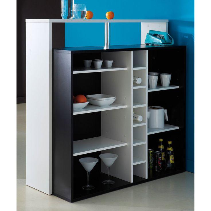 Panneaux de particules Couleur : Noir, blanc Dimensions : Longueur : 110.2 cm Largeur : 48.1 cm Hauteur : 112.5 cm Un meuble bar avec 7 niches Article livré démonté, avec...