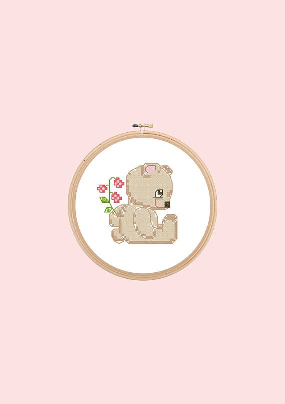 cross stitch pattern kid's embroidery baby bear instant