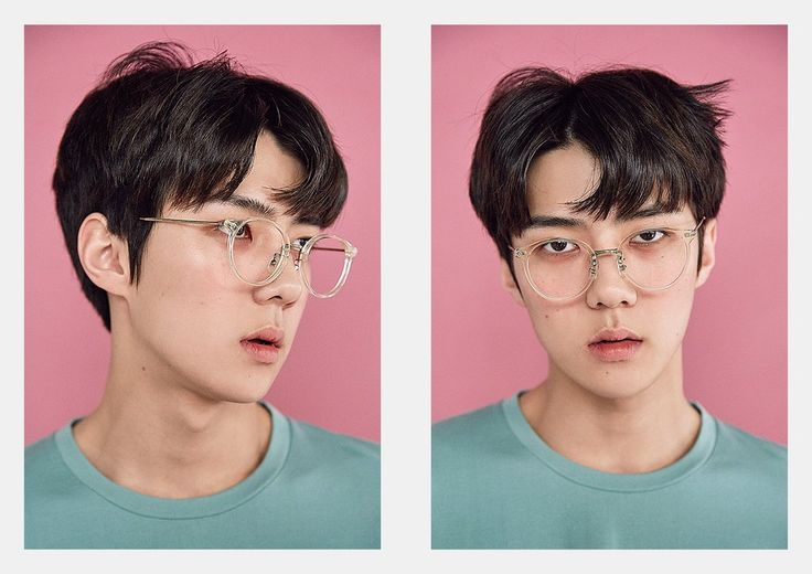 Sehun.. Pink. Cute. Glasses. Oh my god. Ugh. So adorable. Though it reminds me of the faces I make in the morning. Okay. Still cute.