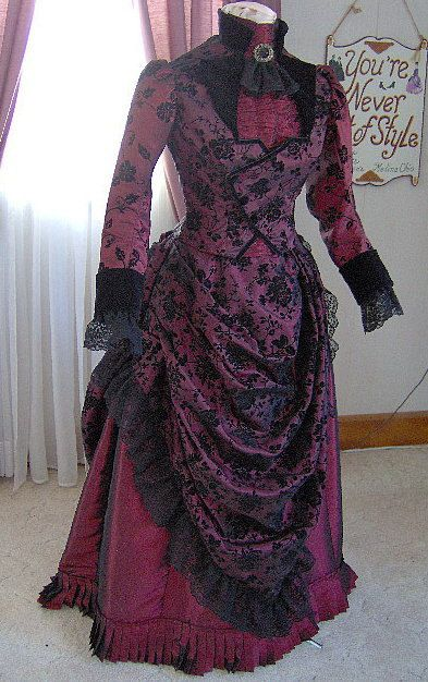 FOR ORDERS ONLY 1800s Victorian Dress 1887 Bustle Gown 1880s Gothic Sass Old Wild West Skirt Bodice by MissLisa1867 - Steampunk Steampunk Clothing - Smoked Glass Goggles