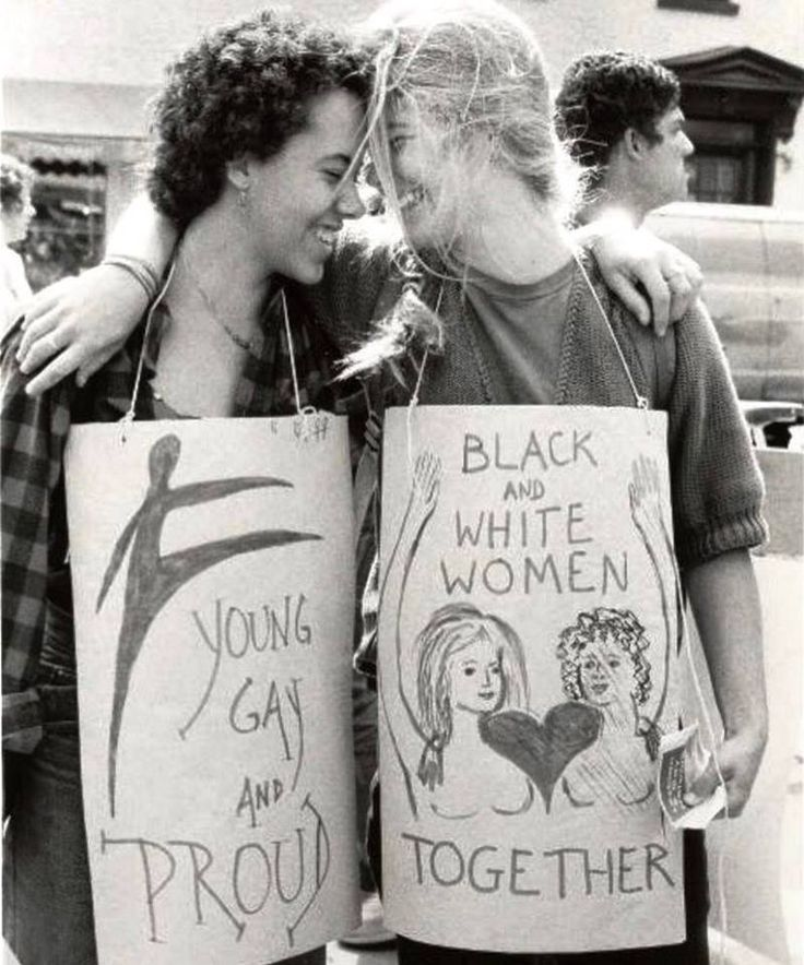 """""""YOUNG GAY AND PROUD"""" -- """"BLACK and WHITE WOMEN TOGETHER,"""" Heritage of Pride Parade, New York City, June 24, 1984. Photo by Bettye Lane, c/o @harvard. #lgbthistory #HavePrideInHistory #WomensMarch"""