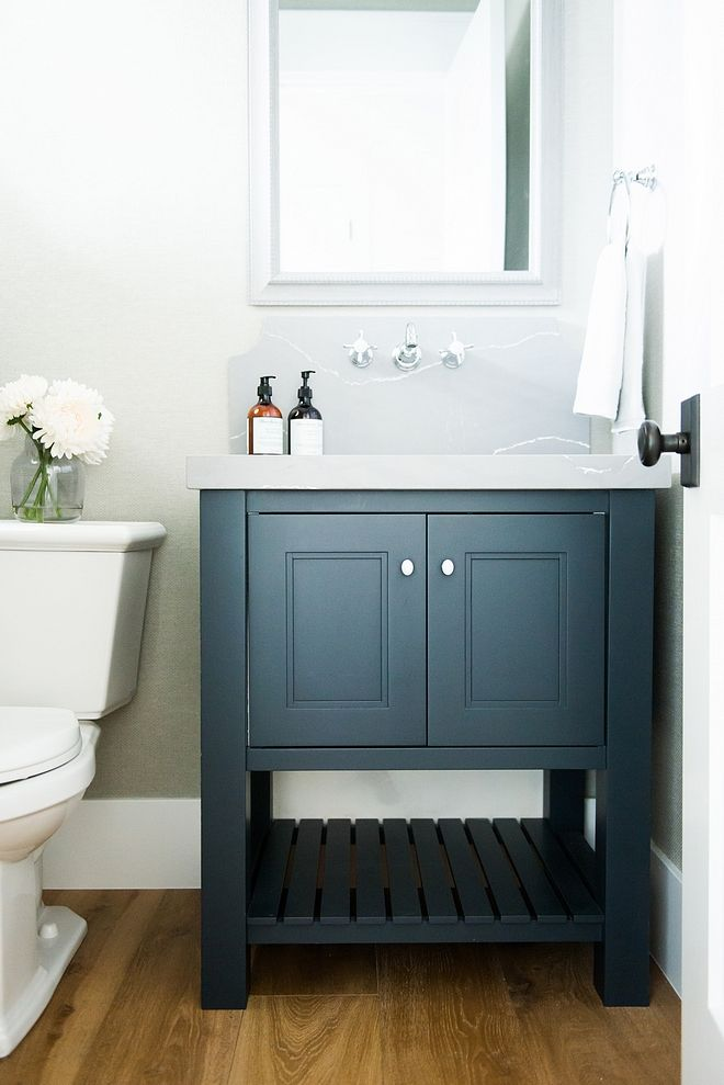 White Bathroom Vanity Dark Countertop