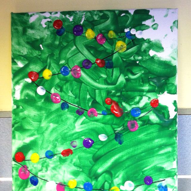 Christmas tree with lights. Fun finger paint project idea!